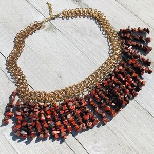 Red Chipped Drop Chain Necklace